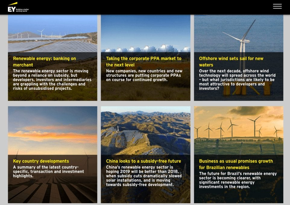 Ernst & Young website featuring 6 photos of windmills on different landscapes