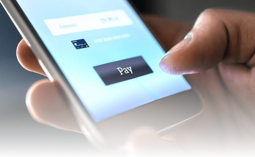 picture of someone using request to pay on mobile